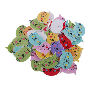 Wholesale 50pcs Clothing Sewing DIY Craft Decoration 2 Holes Wooden Cartoon Cat Buttons