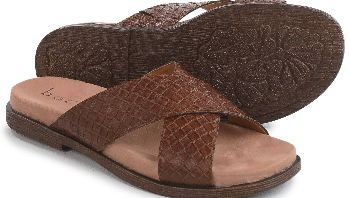 NEW BORN B.O.C LAZIO BROWN SLIDE SANDALS WOMENS 6 FLATS Z33223  FREE SHIP
