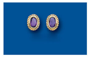 Amethyst-Earrings-Yellow-Gold-Stud-Solid-9-Carat-Studs-Real-Stone-Solitaire