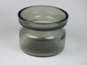 VINTAGE-SCANDINAVIAN-STYLE-GLASS-Pot-or-Tea-Light-Holder-Smoked-Grey-1960s