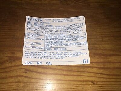 Toyota Pickup Parts >> 1984 Toyota Pickup Truck/4runner Emissions Decal Repro ...