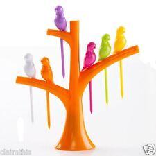 Birds In a Tree Fruit Fork Set Cute Orange Tree Base w/ 6 Colorful Bird Picks
