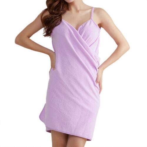 Womens Microfiber Wearable Bath Towel Shower SPA Wrap Washcloth Body Bathrobe US