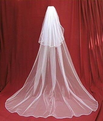 Hot Sale New 2t White/Iovry Wedding Bridal Veils Cathedral Length with comb