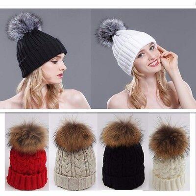 Women Winter Warm Knit Crochet Beanie Ski Cap Bobble Hat Large 15CM Fur Pom Ball