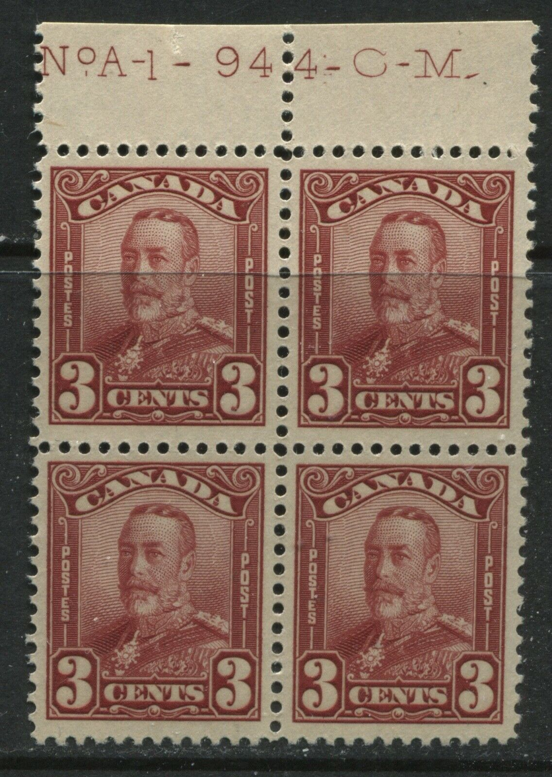 Canada 1929 3 cents red unmounted mint NH block of 4