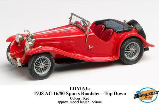 calidad fantástica 1938 AC 16 80 SPORTS ROADSTER TOP TOP TOP DOWN Brooklyn rojo 1 43  costo real