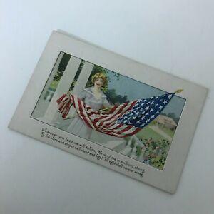 ANTIQUE-EMBOSSED-Patriotic-Flag-Postcard-July-4th-USA-America-Series-252-Star