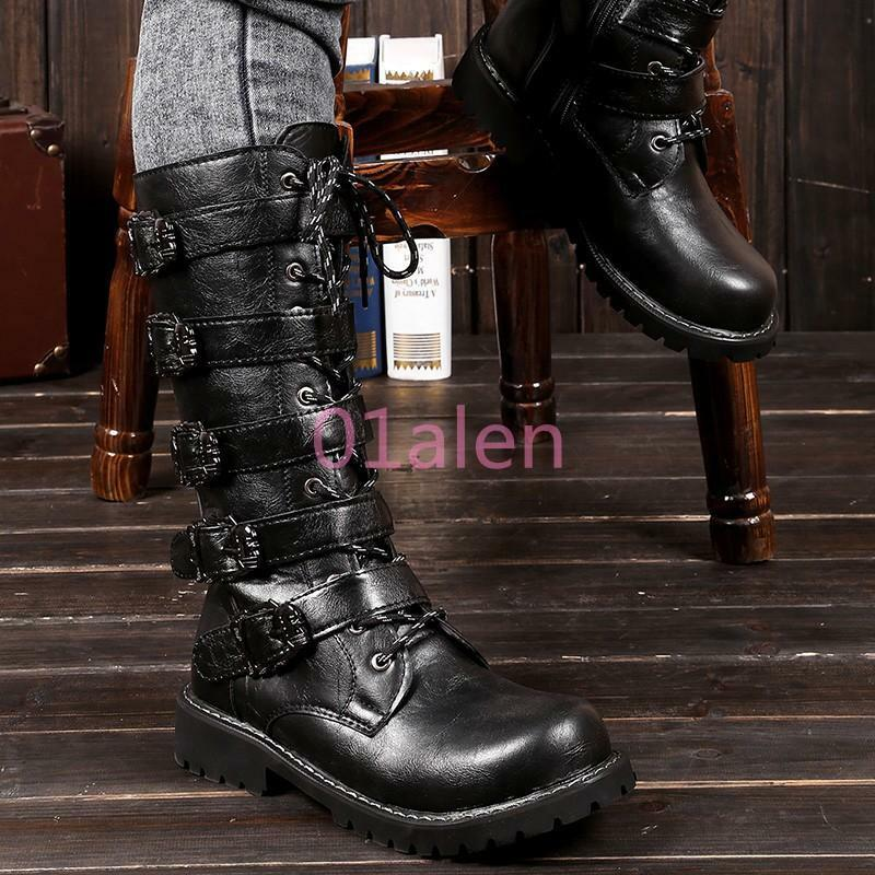 Men's Military Punk Army Tactical Combat Leather Buckle Motor Long Boots shoes