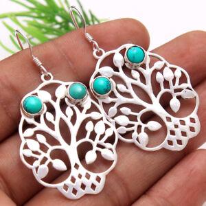 Tree-Of-Life-Turquoise-Dangle-Earring-925-Sterling-Silver-Women-Jewelry-2-034