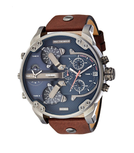 334a612a9 New Diesel Mr Daddy 2.0 Gunmetal Blue Brown Leather 4 Time Zone Men ...