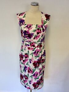 dd6d23e266b LAURA ASHLEY WHITE & FLORAL PRINT CUT OUT BACK PENCIL DRESS SIZE 12 ...