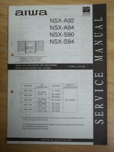 aiwa service manual for the nsx a92 a94 s90 s94 cassette receiver rh ebay com Repair Manuals Yale Forklift Chilton Manuals