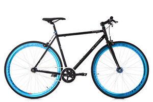 Velo-Fitness-28-034-Pignon-Fixe-Flip-Flop-Pegado-Noir-Bleu-KS-Cycling-M168R