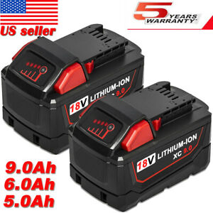2x For Milwaukee M18 Li-ion 18Volt XC 6.0Ah Extended Capacity Battery 48-11-1860