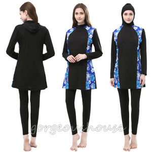 911267c515 Image is loading Muslim-Women-Full-Cover-Swimwear-Islamic-Modest-Swimsuit-