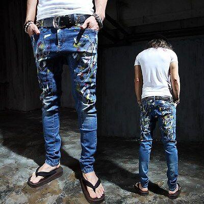 ByTheR Men's Biker Slim Skinny Pants Denim Paint Premium Jeans P000BDOF