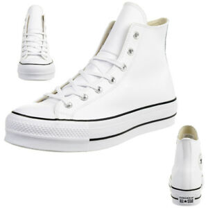 Converse All White Leather UK Size 9 Brick Pattern Outsole Very Clean