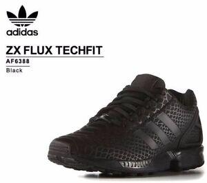 8e2ed70f6a6e9 Image is loading ADIDAS-Originals-ZX-Flux-Techfit-Sneaker-Triple-black
