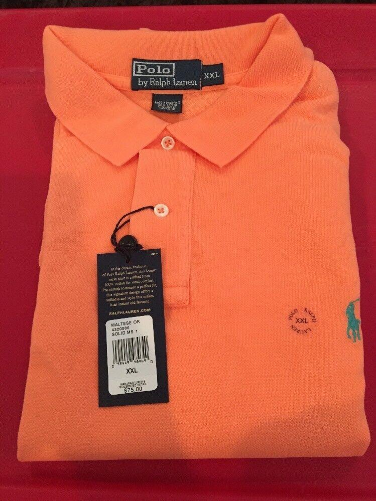 Polo Ralph Lauren Mesh Short Sleeve Men's Maltese orange Classic Fit XXL NWT NEW