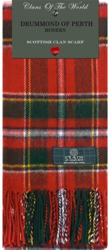 Drummond of Perth Modern Tartan Clan Scarf 100/% Soft Lambswool