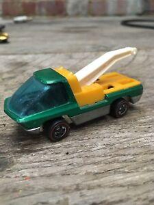 Vintage Hot Wheels La dépanneuse poids lourds verte / jaune 1969 Mattel Redlines
