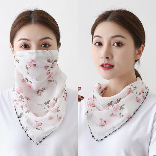 Women/'s Face Chiffon Neck Scarf Protect Mouth Washable Floral Outdoor Ladies
