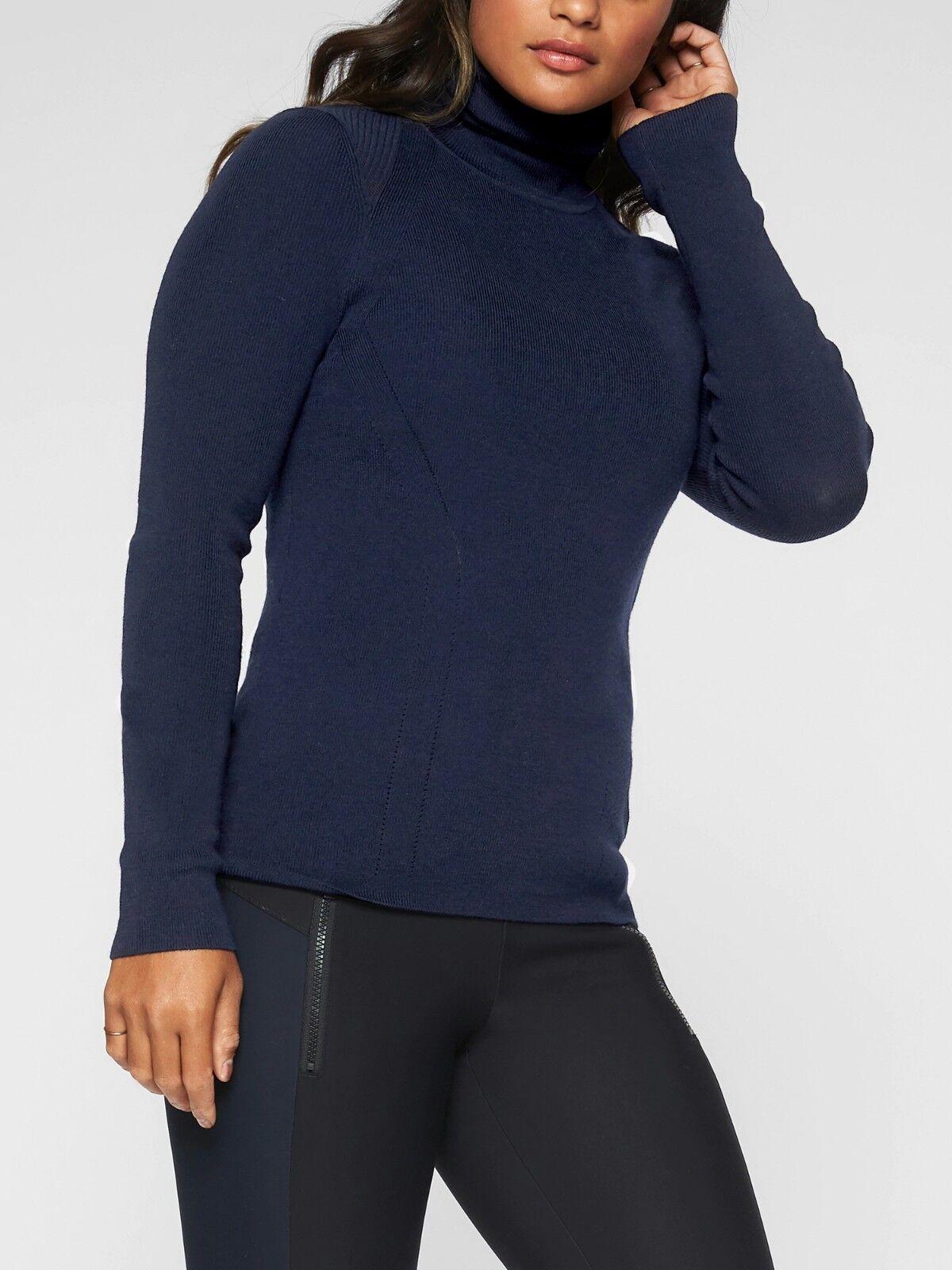 NWT Athleta Futures Turtleneck Sweater Top, Navy Größe XS           N0113