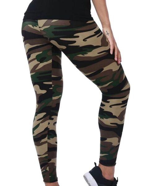 lau-fashion Leggings Camouflage Damen Militär Hose Sport Wäsche Fitnesshose S/M