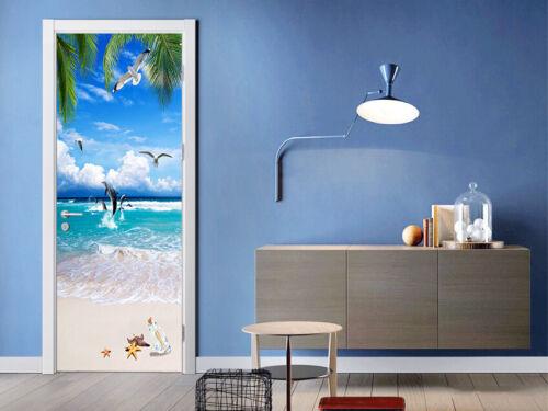 Céu Azul 3D Praia Oceano Auto Adesivas Porta Do Quarto Das Crianças murais Adesivo De Parede