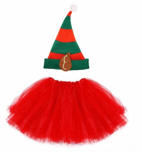 Costume Elfo Tutu Set Ragazze Festa di Natale Gonna Fantasia Vestito Babbo Natale Helper
