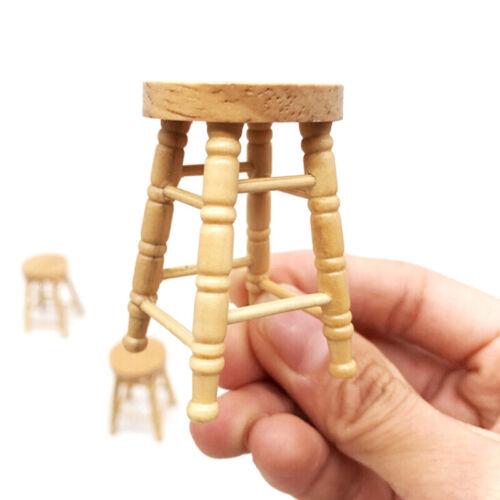 1Pc 1//12 Dollhouse Miniature IN LEGNO SGABELLO SEDIA Mobili Accessori scenografia *