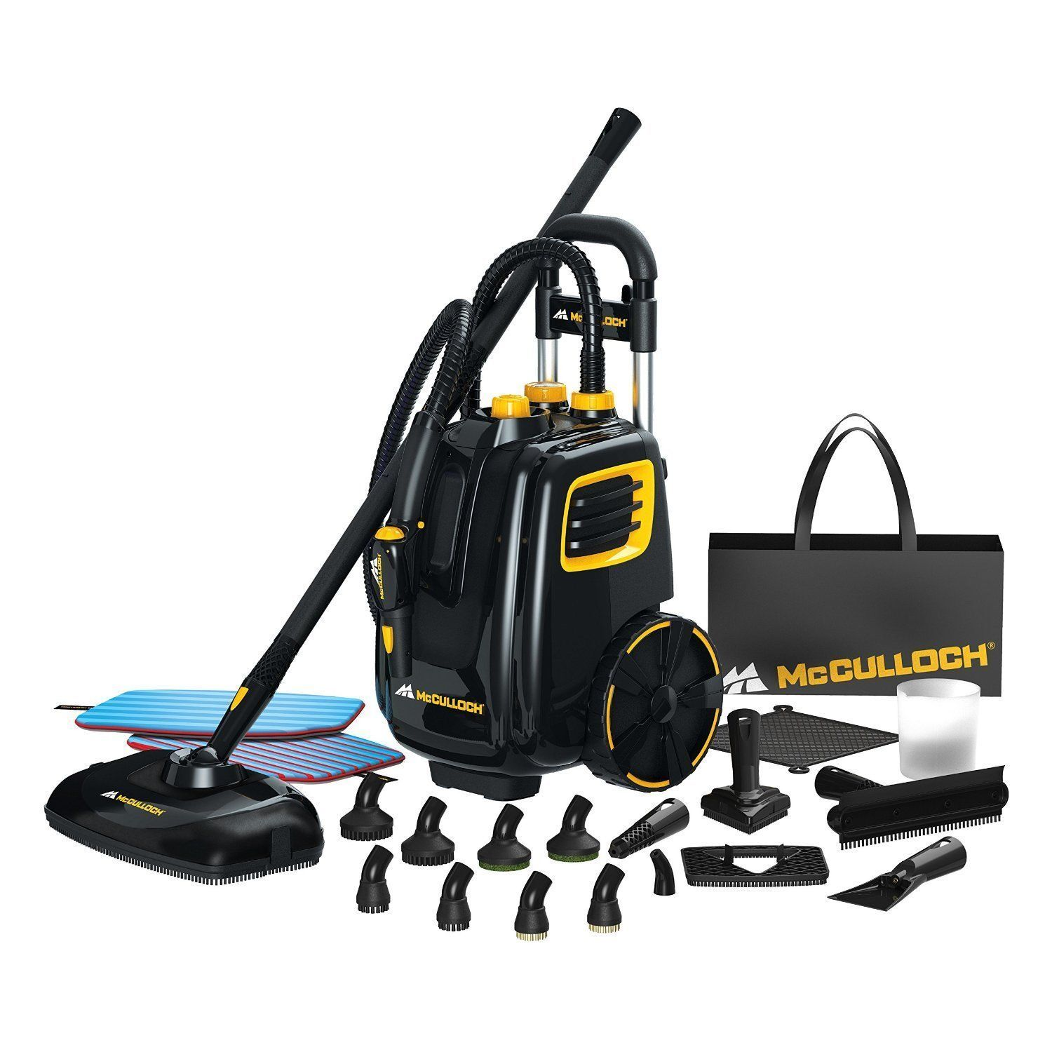 Floor Tile Steam Cleaner 1500W Oven Grill Brush Large Mop Tank Scrubber Pad 120V