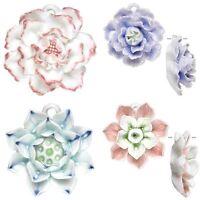 You Pick White Pink Lavender Carnation Blue Lotus Porcelain Flower Bead Pendant