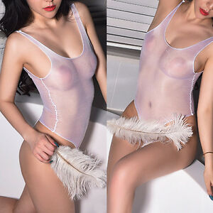 4d217041e782 Image is loading High-Shiny-Women-Sheer-Nylon-transparent-Nightwear-Bodysuit -