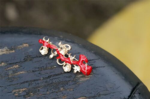 Broche Branche Corail Fleur Metal Email Rouge Retro Doré XZ 3