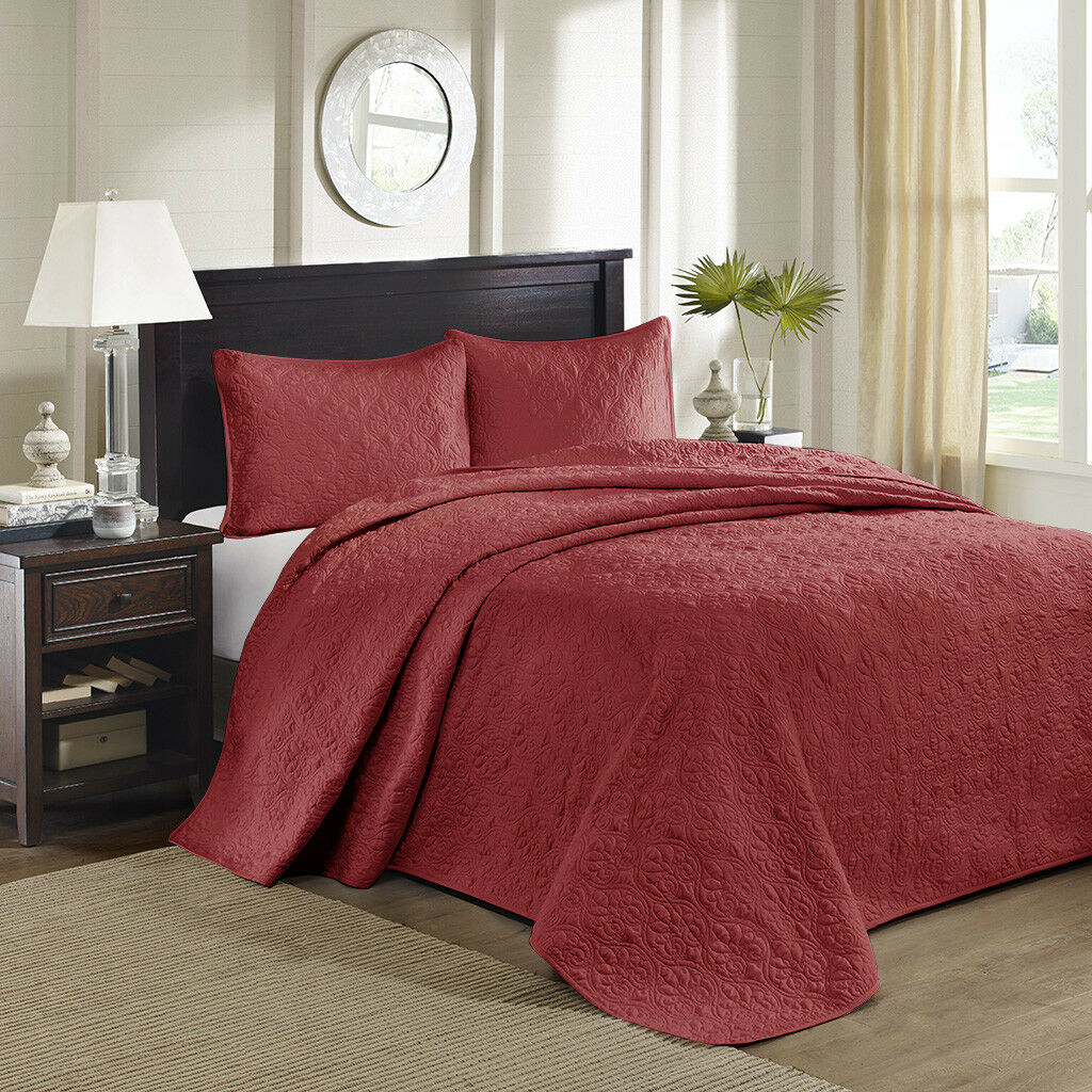 BEAUTIFUL XXXL LARGE rot SOFT VINTAGE SCROLL STITCH BEDSPREAD QUILT SET KING NEW