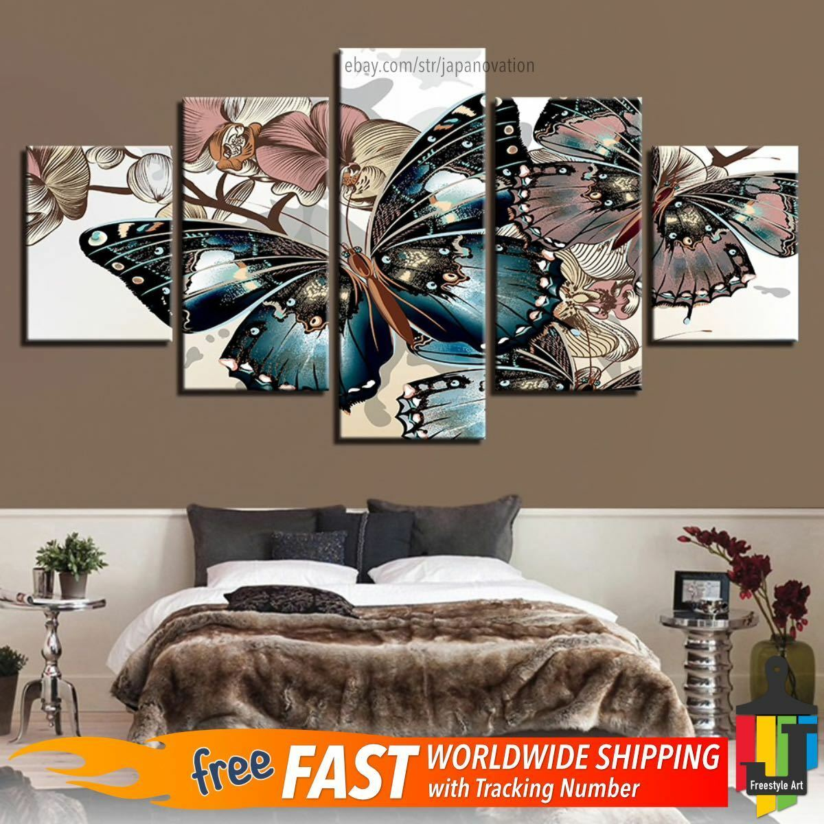 5 Piece Home Decor Canvas Print Wall Art Floral Abstract Butterfly Flower Poster