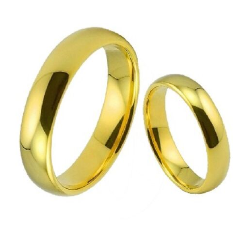Classic gold coloured stainless steel band ring multiple sizes and widths