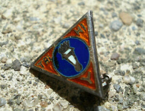 STERLING-SILVER-Vtg-YWCA-Lapel-Pin-TRY-HI-Y-Enamel-TORCH-FLAME-Mini-Antique