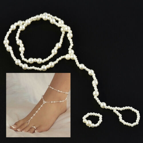 Fashion Women/'s Jewelry Pearl Foot Anklet Chain Toe Ring Ankle Bracelet Set Gift