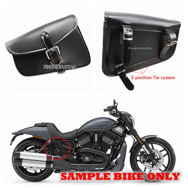2X Black Motorcycle PU Leather Side Saddle Bag for Harley Sportster XL 883/1200