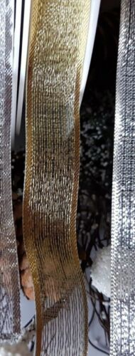 2M SILVER OR GOLD CHRISTMAS SPARKLY LUREX Ribbon 15 or 25mm Trimming-Crafts