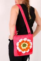 Large Frilly Flower Pink Faux Leather Messenger / Cross Body Bag