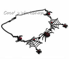 BLACK 3D RED DIAMANTE SPIDER & WEB NECKLACE FUNKY HALLOWEEN COSTUME JEWELRY GIFT