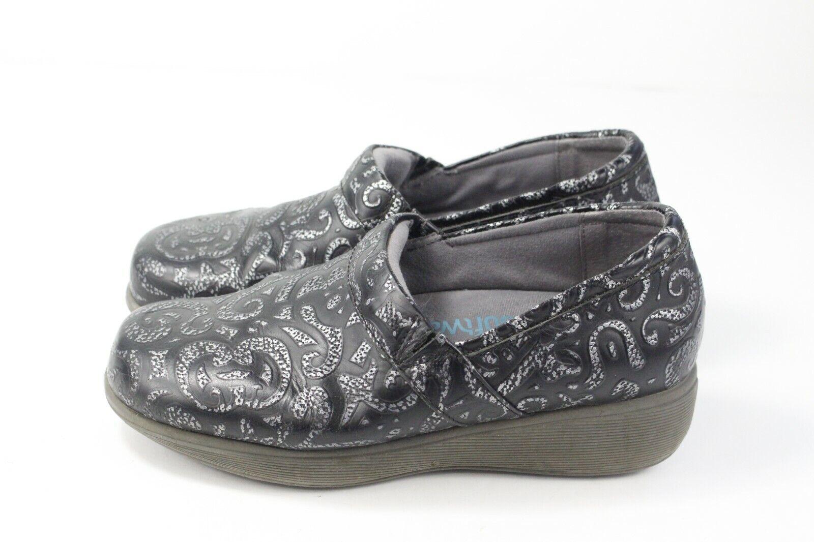 Softwalk Grey's Anatomy Black Silver Geometric Nurse Clog Comfort Shoes Sz 7M
