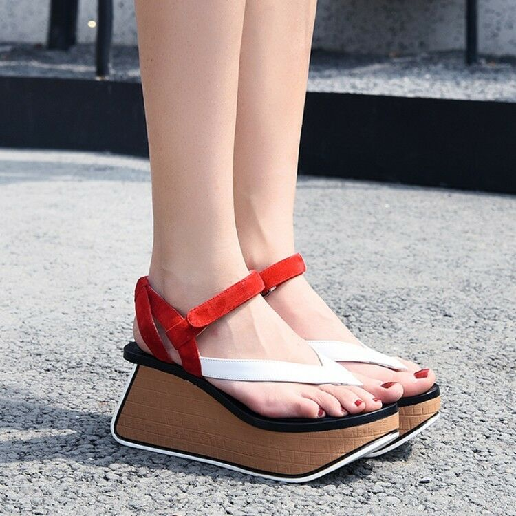 Casual Wouomo Platform Wedge Heels Slingback Buckle Strap scarpe Leather Sandals