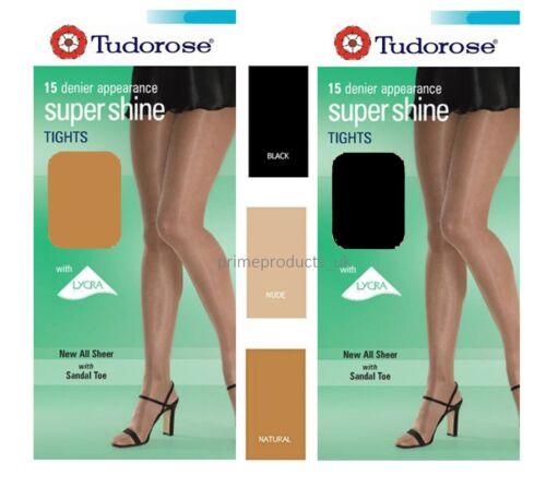 1 X Pair Womens Ladies 15 Denier Super Shine Luxury Tights With Sandal Toe