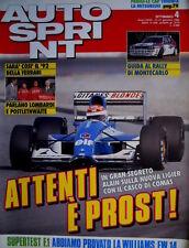 Autosprint 4 1992 Segreto della nuova Lieger è Prost. Prova Williams FW14 SC.54