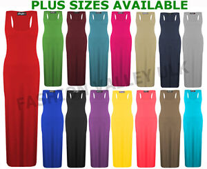 WOMENS-LADIES-PLUS-SIZE-JERSEY-MUSCLE-RACER-BACK-MAXI-LONG-VEST-DRESS-SIZES-8-26